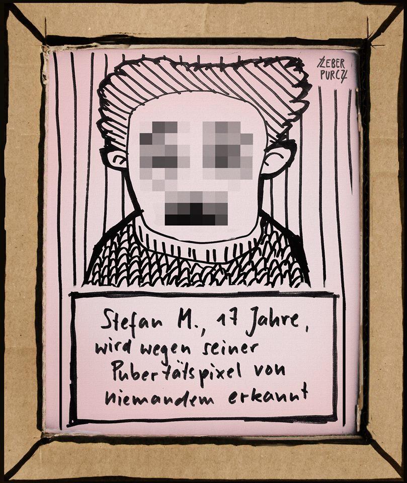 Stefan M., 17 Jahre, wird wegen seiner Pubertätspixel von niemandem erkannt.