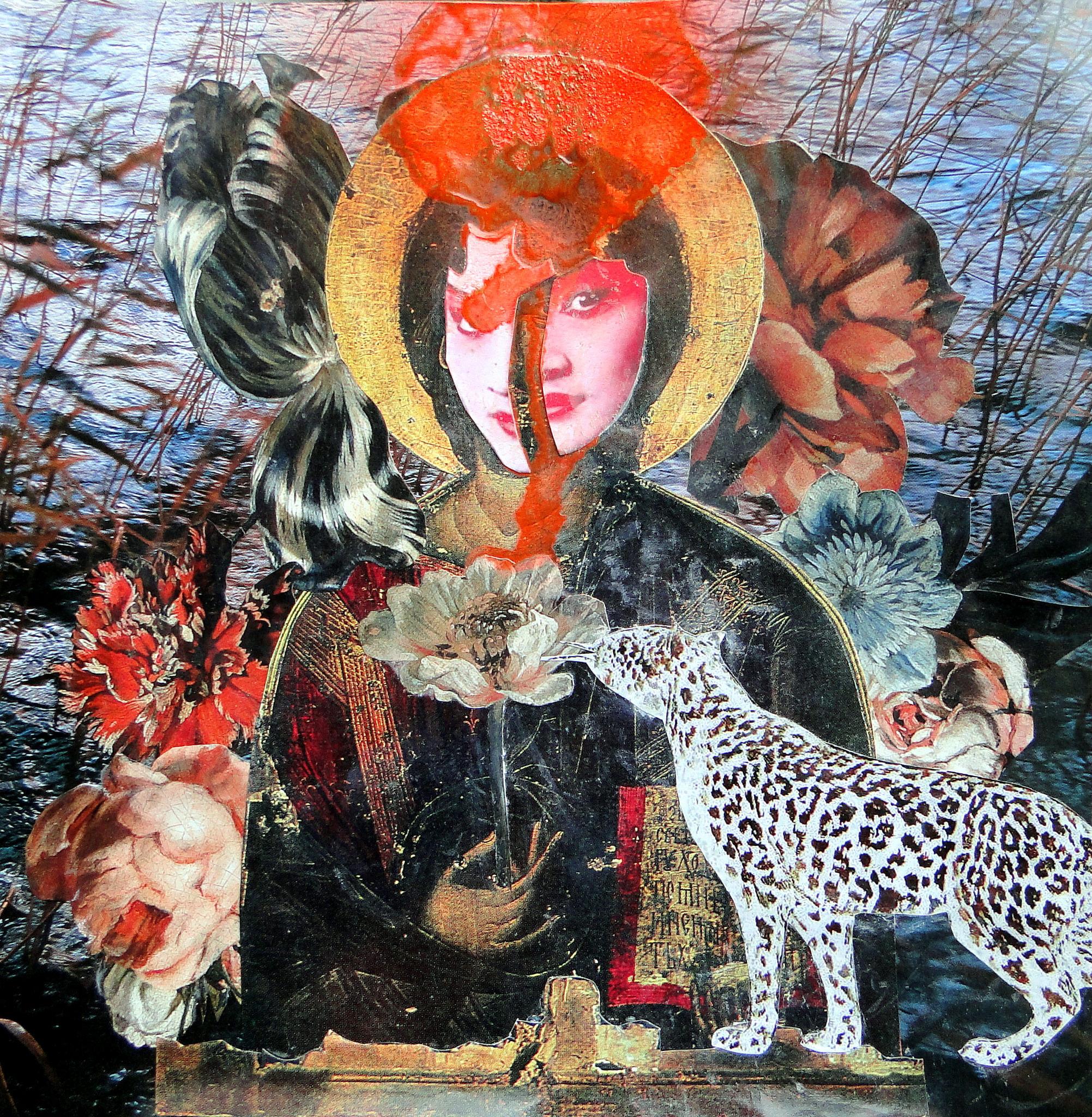 (c) Lumi Divinior by Gunilla Göttlicher, Heiliges Wesen mit Blumen und Leopard, 2014