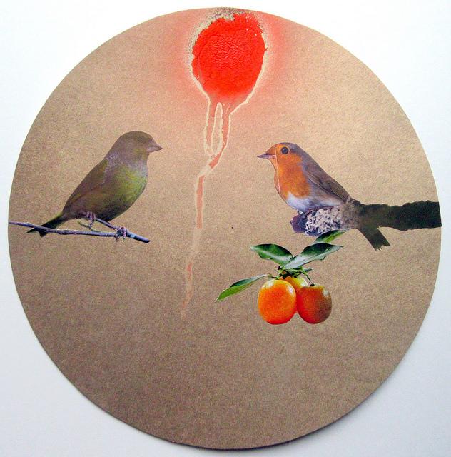 (c) Lumi Divinior by Gunilla Göttlicher, Zwei Vögel, drei Kumquats und die Energie, Serie Tondo, 2016